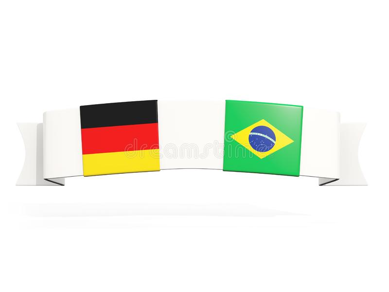 与德国和巴西的两面方形的旗子的横幅 向量例证
