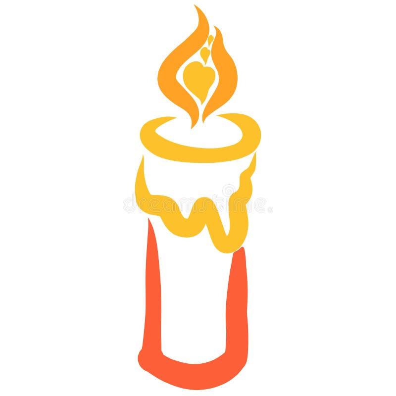 与心脏的燃烧的蜡烛在火焰 库存例证
