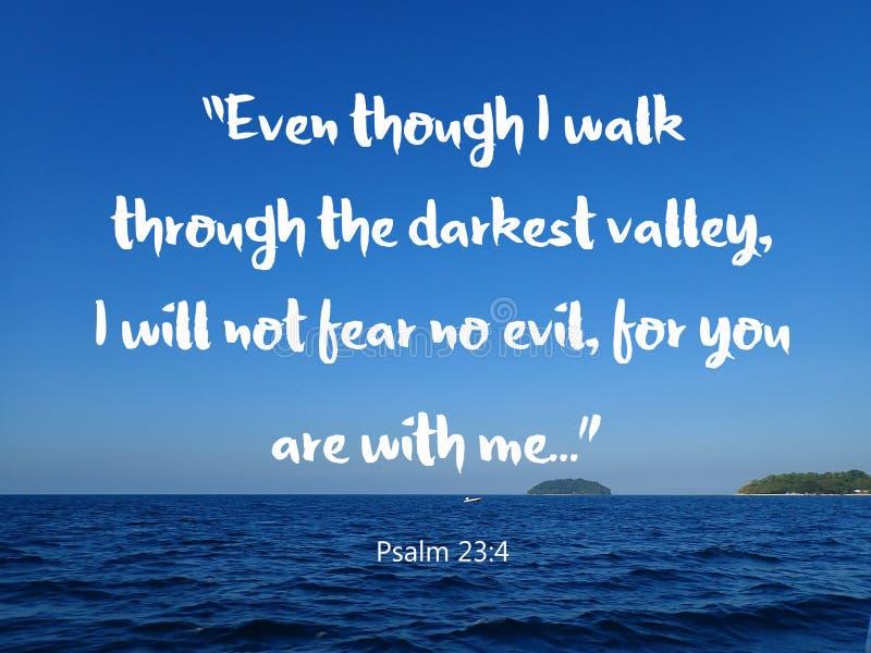 与圣经诗歌设计的没有恐惧基督教的有海景背景 免版税库存照片