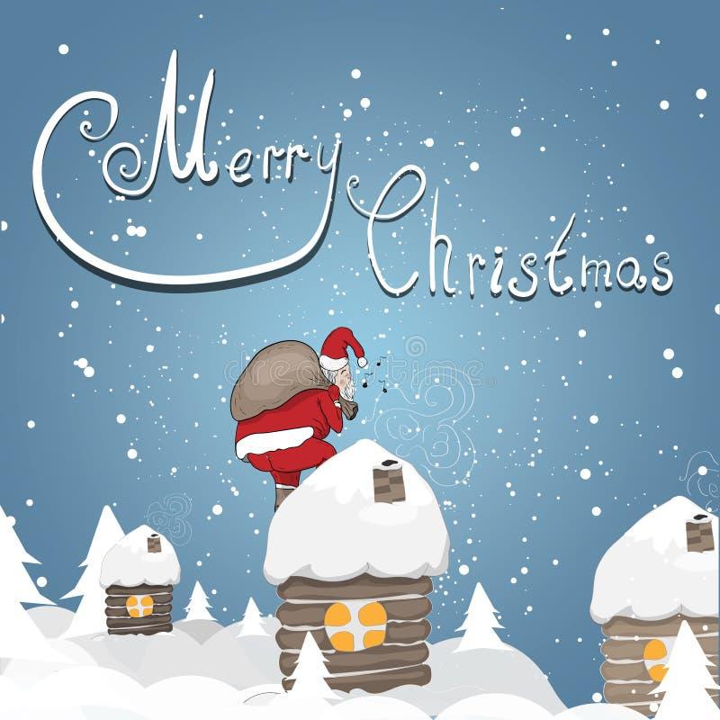 与圣诞老人的假日卡片 皇族释放例证