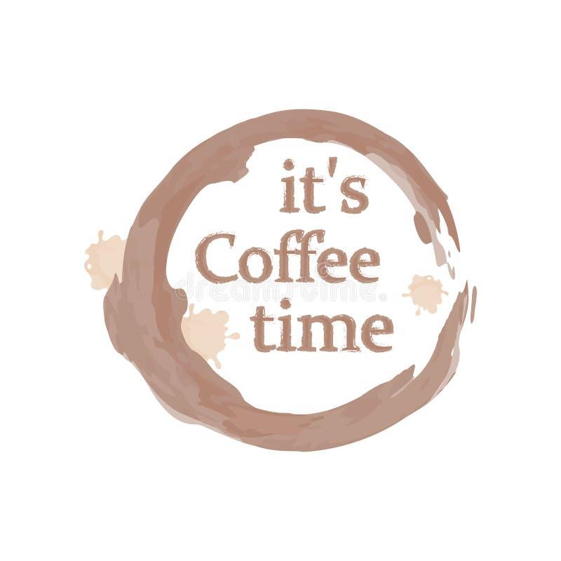 与在它的咖啡时间上写字的逗人喜爱和有用的模板在中心杯子追踪 背景查出的白色 库存例证