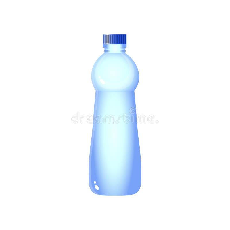 与在白色背景隔绝的裁减路线的塑料水瓶设计 库存例证