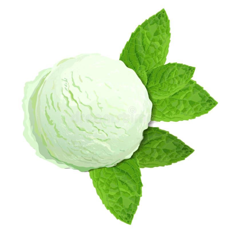 与在白色背景隔绝的薄荷叶的薄荷的绿色冰淇淋,顶视图 向量例证