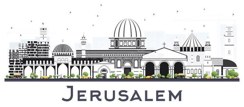 与在白色隔绝的灰色大厦的耶路撒冷以色列地平线 库存例证