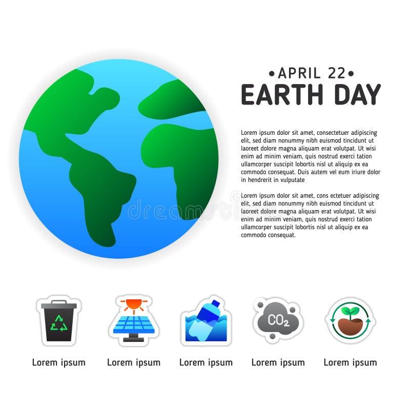 与地球现代象的地球日信息图表海报模板  向量例证