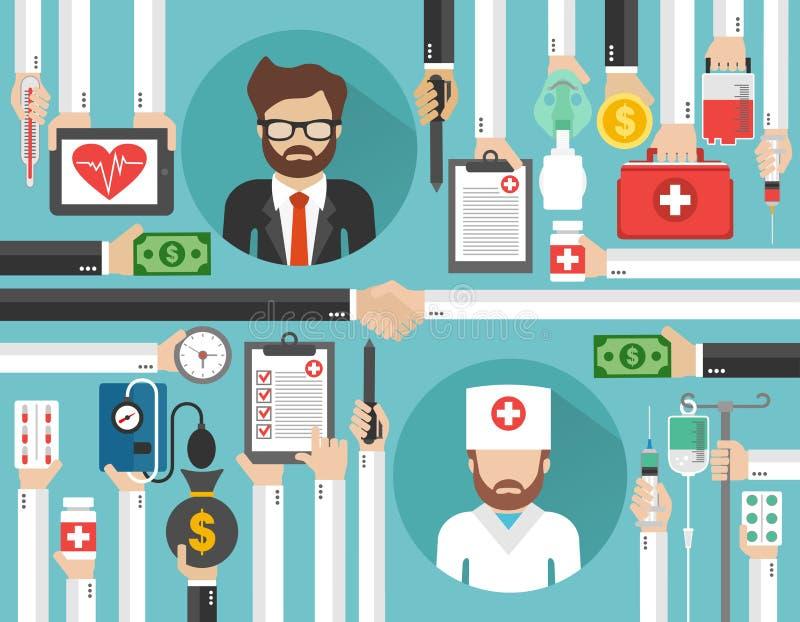 与医生和businessma的保险概念平的设计 皇族释放例证