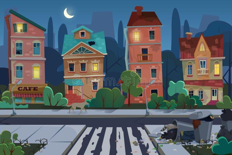 与垃圾的夜老城市视图和在街道的肮脏的区域 环境污染和生态概念 不赞同 库存例证