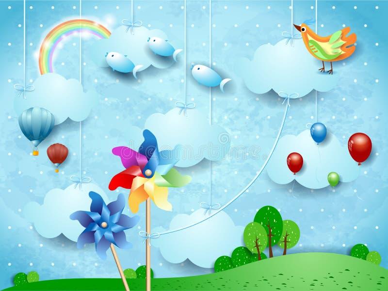 与垂悬的轮转焰火、气球、鸟和飞鱼的超现实的风景 向量例证