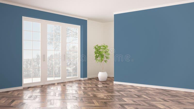 与全景窗口的空的白色和蓝色内部,有雪的,人字形木条地板地板,经典当代冬天全景 向量例证
