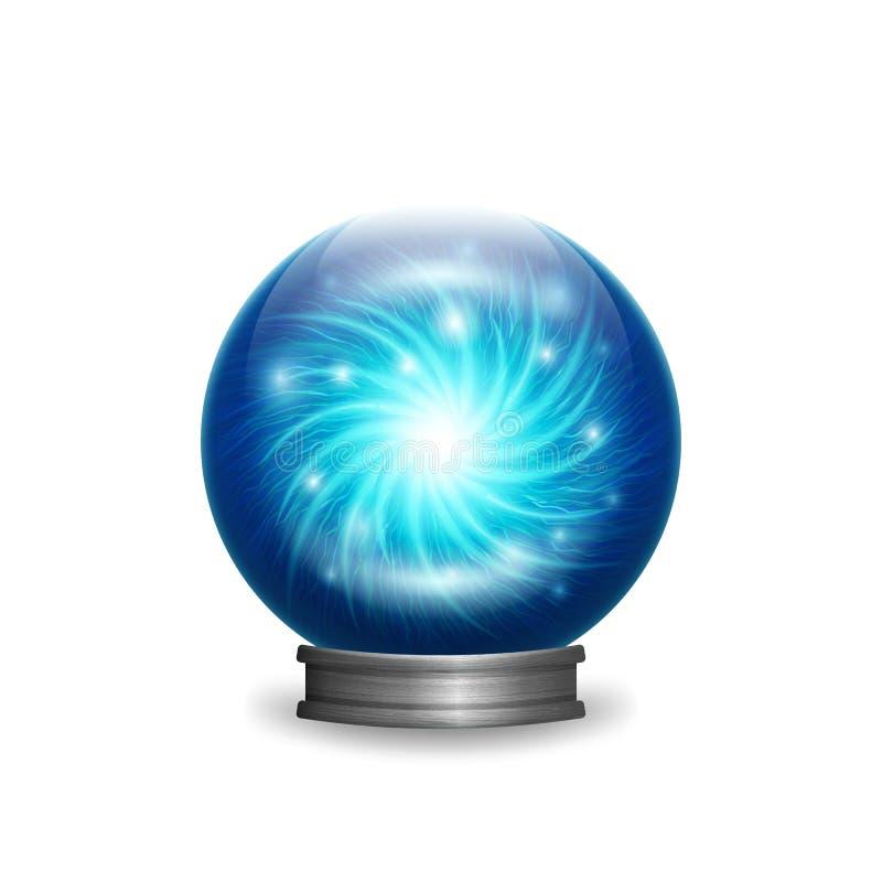 与光的不可思议的蓝色水晶球 皇族释放例证