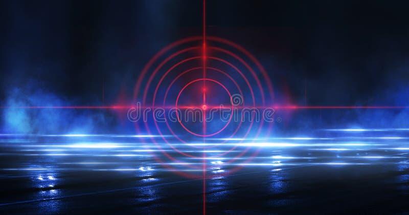 与光芒、激光红色视域和霓虹灯的抽象黑暗的背景 空的隧道,室,一个暗室的地下室夜视图 向量例证