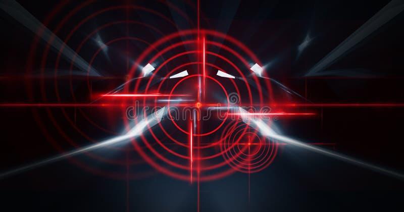与光芒、激光红色视域和霓虹灯的抽象黑暗的背景 空的隧道,室,一个暗室的地下室夜视图 皇族释放例证