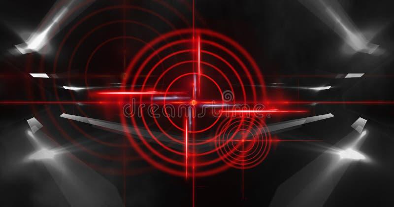 与光芒、激光红色视域和霓虹灯的抽象黑暗的背景 空的隧道,室,一个暗室的地下室夜视图 库存例证