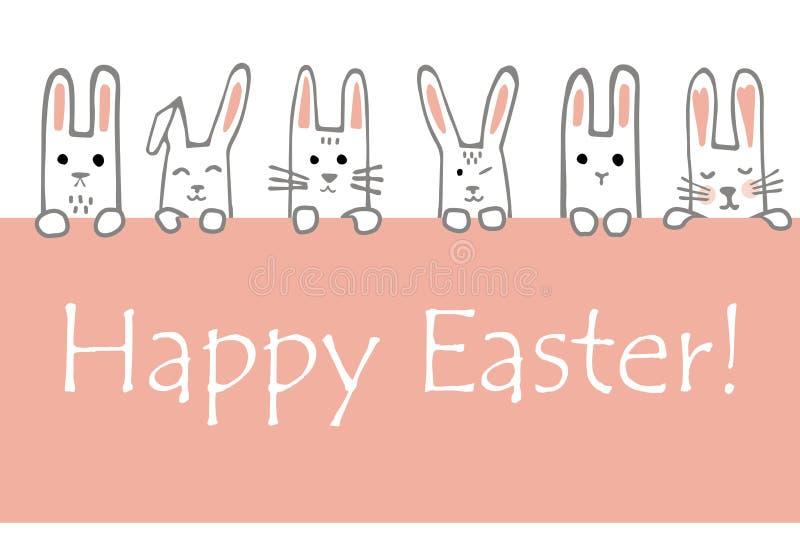 与兔宝宝面孔和爪子的愉快的复活节横幅 兔子边界或贺卡 向量 皇族释放例证