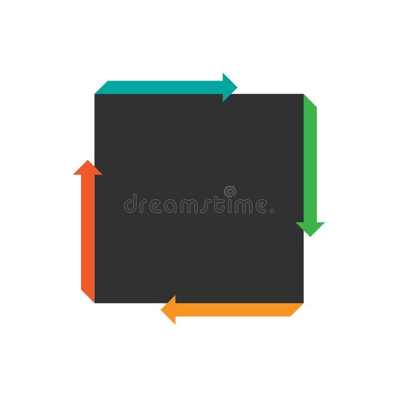 与四个箭头的平的正方形infographic的 周期图、图表、介绍和圆的图的模板 到达天空的企业概念金黄回归键所有权 向量例证