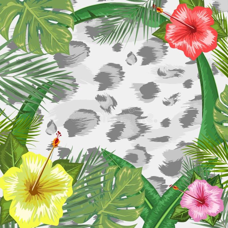 与框架的热带背景或边界做了热带花和叶子和地方文本和豹子皮肤背景的 库存例证