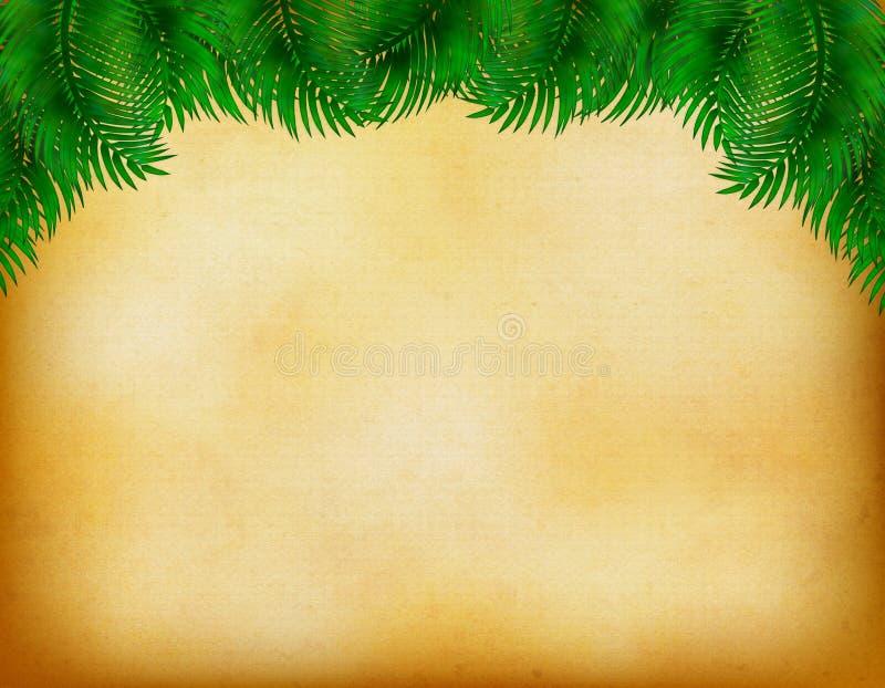与棕榈叶装饰的热带葡萄酒背景 库存例证