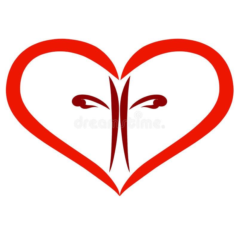 与棕色发怒里面,基督教的红心 库存例证