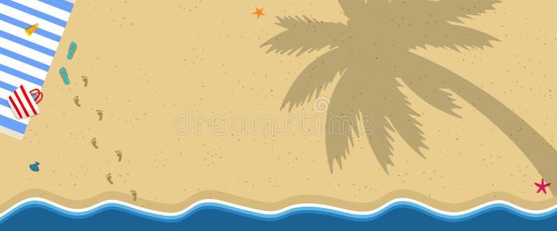 与毛巾,触发器的热带海岛沙滩 库存例证