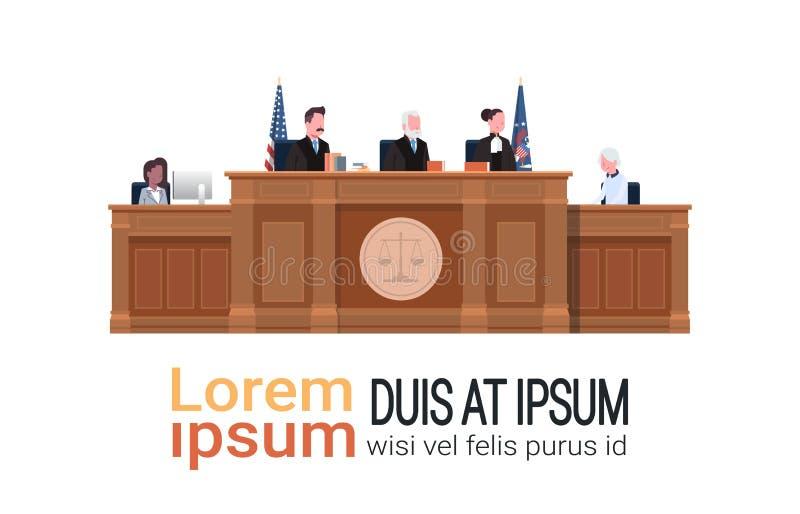 与法官坐在工作场所木论坛法院开庭白色背景拷贝空间的秘书嫌疑犯的法律过程 皇族释放例证