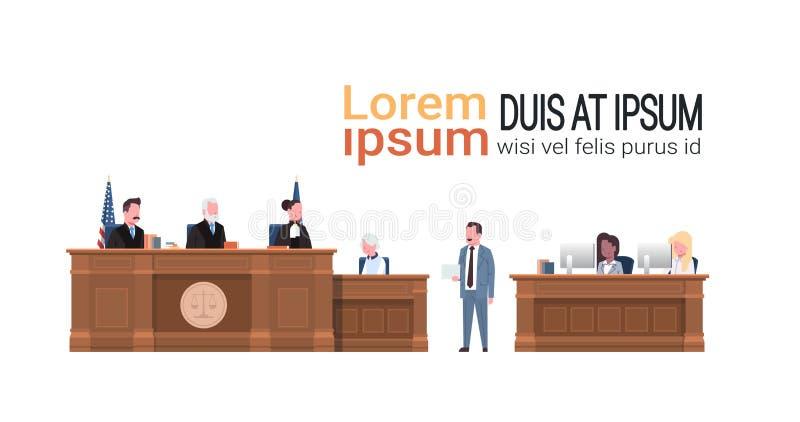 与法官给讲话法院开庭白色背景拷贝的秘书嫌疑犯的法律过程和律师或者律师 库存例证