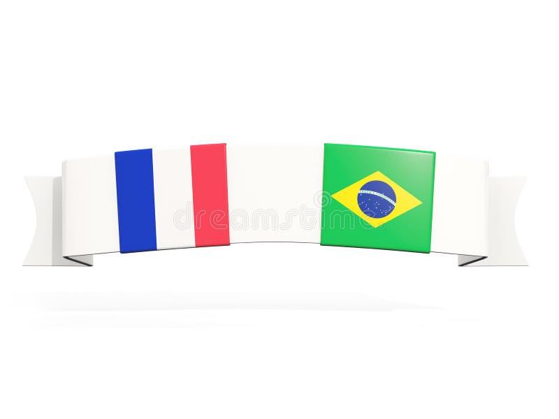 与法国和巴西的两面方形的旗子的横幅 皇族释放例证