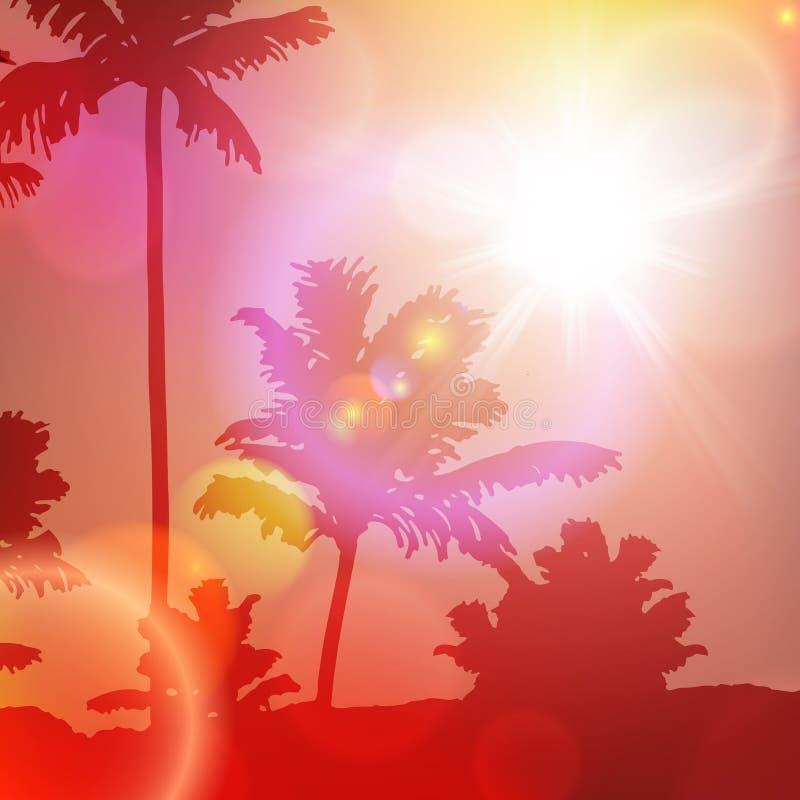 与海岛和棕榈树的海日落 库存例证