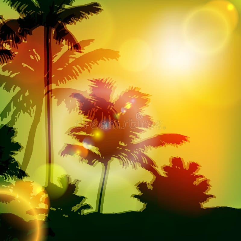 与海岛和棕榈树的海日落 向量例证