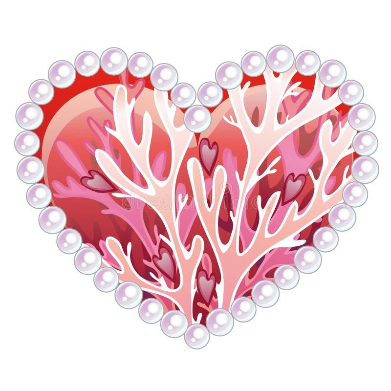 与海在白色背景和宝石的装饰品的美好的心脏隔绝的居民珊瑚 设计想法  皇族释放例证