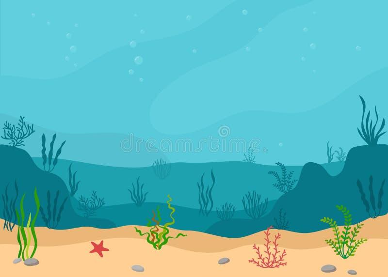 与海草的水下的风景 全景海景 向量例证