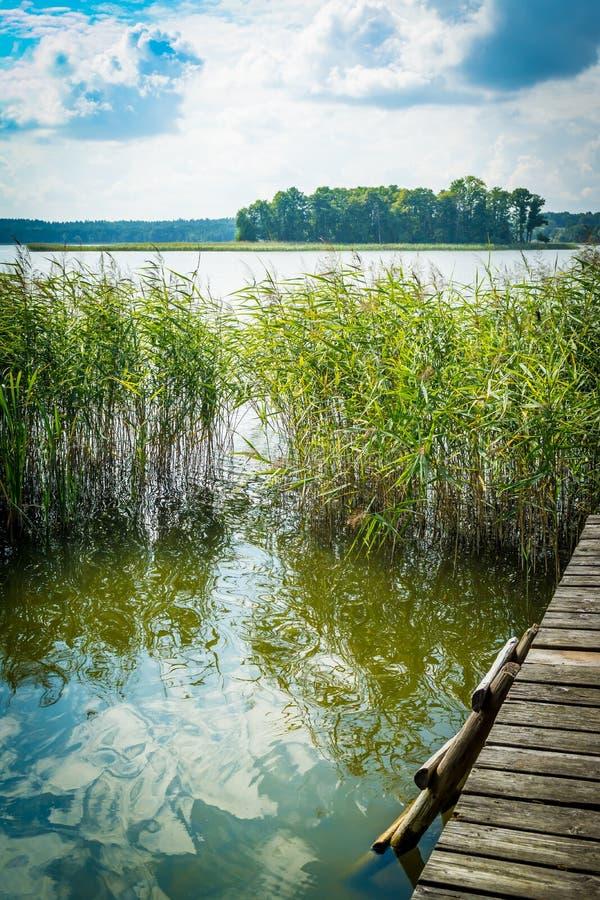 与湖和一座老桥梁,平台,一架梯子的风景到水里在一清楚的好日子 图库摄影