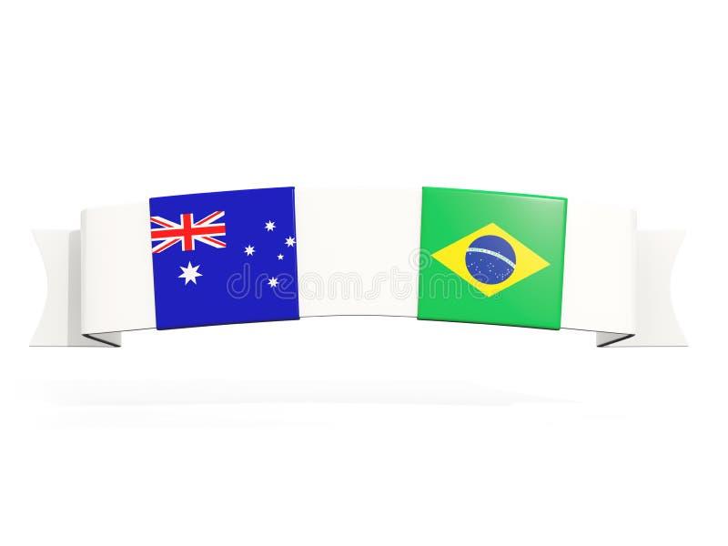 与澳大利亚和巴西的两面方形的旗子的横幅 皇族释放例证
