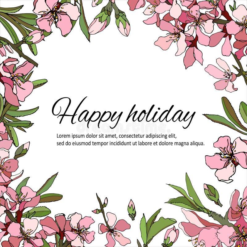 与柔和的桃红色和白花的花卉框架招呼的文本、邀请和卡片的 向量例证