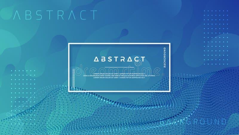 与抽象微粒波浪组合的时髦液体蓝色背景 EPS10向量例证 库存例证