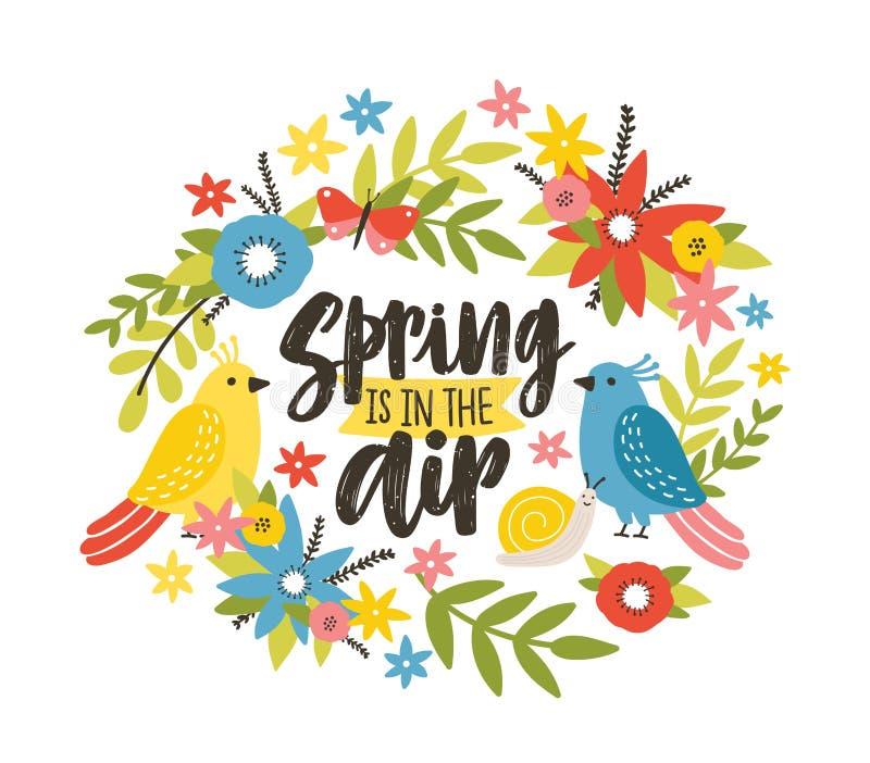 与春天的季节性明信片模板在空气词组写与草写书法字体,开花的狂放的草甸 皇族释放例证