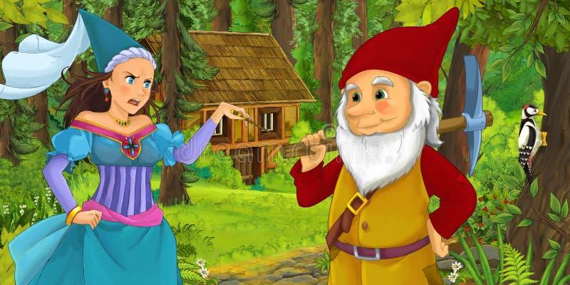 与旅行和遇到公主女巫和暗藏的木房子的年轻矮小的王子的动画片场面在森林里 库存例证