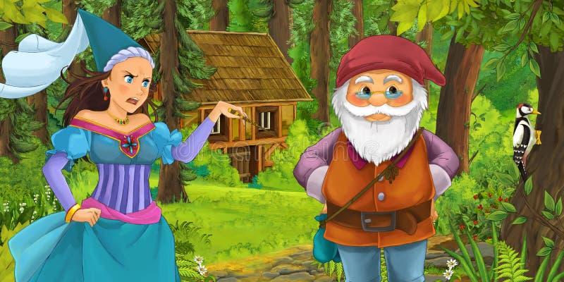与旅行和遇到公主女巫和暗藏的木房子的年轻矮小的王子的动画片场面在森林里 向量例证