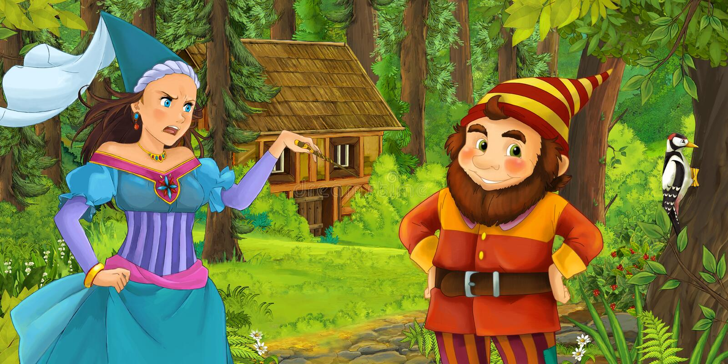 与旅行和遇到公主女巫和暗藏的木房子的年轻矮小的王子的动画片场面在森林里 皇族释放例证
