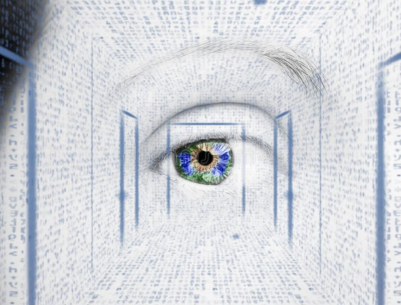 与数字式圈子的抽象眼睛 未来派视觉科学和证明概念 库存图片