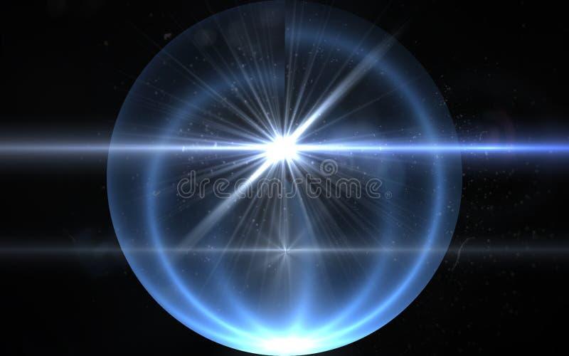 与数字式透镜火光光的抽象太阳爆炸在黑背景 太阳爆炸照明设备火光的抽象图象 皇族释放例证