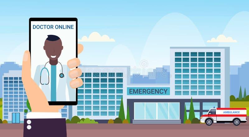 与救护车的手藏品智能手机流动应用医生网上咨询概念现代医院大厦 库存例证