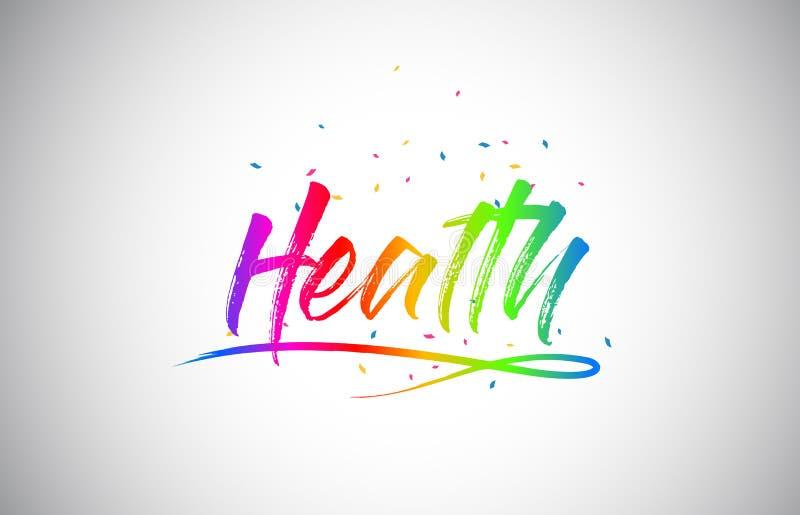 与手写的彩虹充满活力的颜色和五彩纸屑的健康创造性的Vetor词文本 向量例证