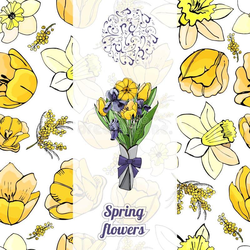 与手拉的图表和颜色剪影的无缝的样式的花卉垂直的模板 皇族释放例证