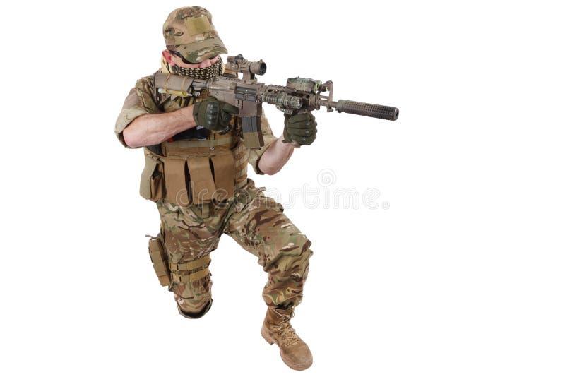 与攻击步枪的Private Military Company承包商 免版税库存图片