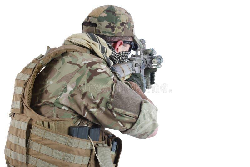 与攻击步枪的Private Military Company承包商 库存照片