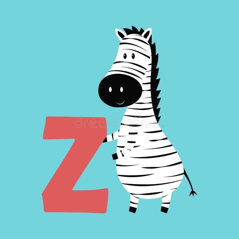 与斑马的逗人喜爱的动物字母表 向量例证