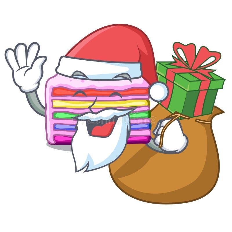 与礼物彩虹蛋糕的圣诞老人在冰吉祥人碗柜 向量例证