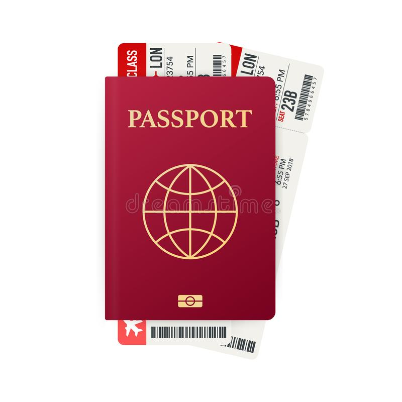 与票的护照 航空旅行概念 旅客的平的设计公民身份ID被隔绝 也corel凹道例证向量 皇族释放例证