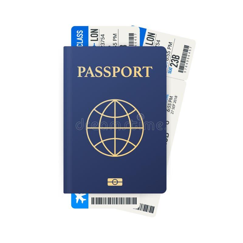 与票的护照 航空旅行概念 旅客的平的设计公民身份ID被隔绝 也corel凹道例证向量 向量例证