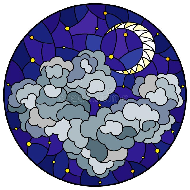 与神圣风景、蓬松云彩在满天星斗的天空背景和月亮,圆的图象的彩色玻璃例证 皇族释放例证